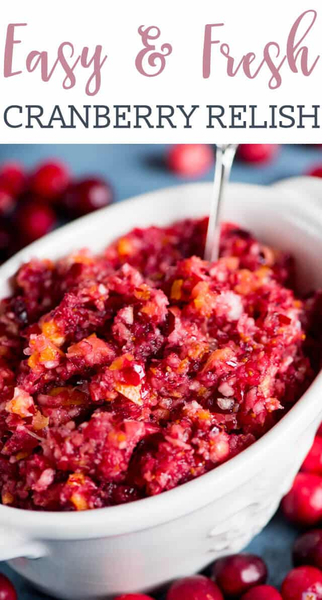 No cooking necessary! It only takes 5 minutes and 5 ingredients to make this easy cranberry relish. Serve this fruit relish with crackers, meat, on sandwiches or with cream cheese. #cranberries #thanksgiving #relish #sidedish via @tastesoflizzyt