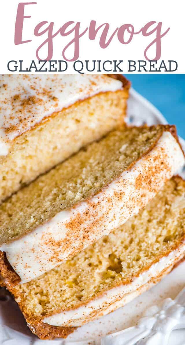 closeup of eggnog bread title image