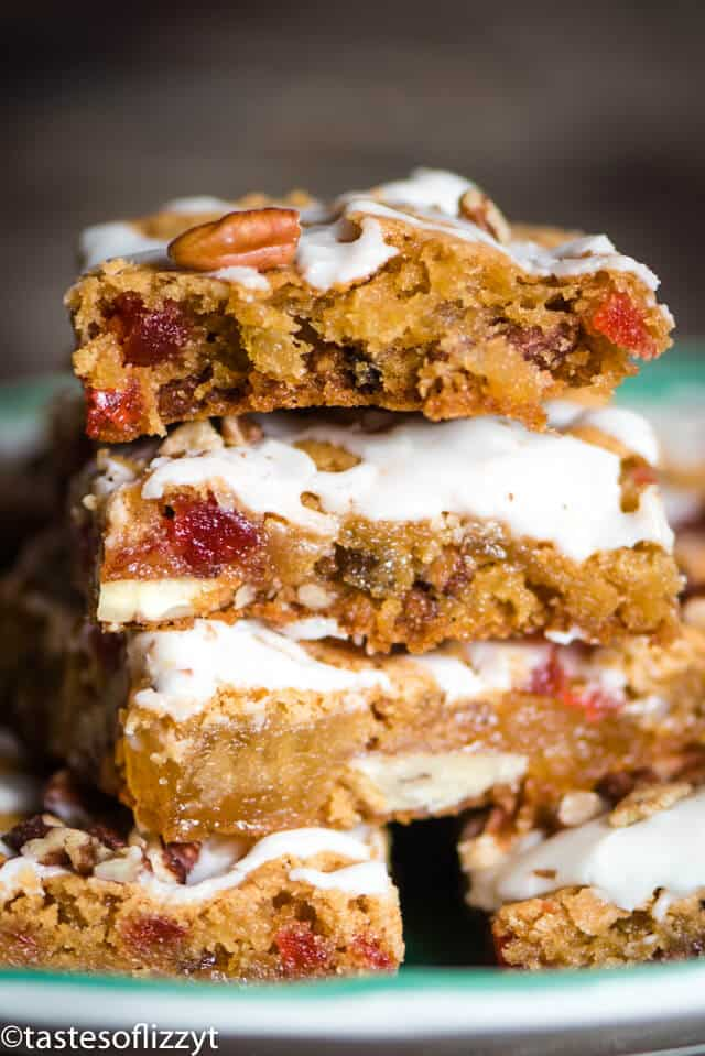 stack of christmas fruit cake cookie bars
