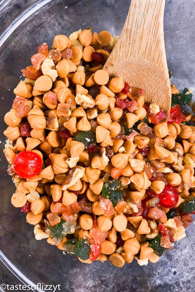 butterscotch and candied fruit in a bowl