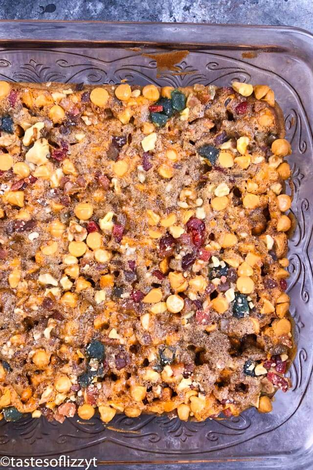 baked butterscotch fruit cake bars in pan