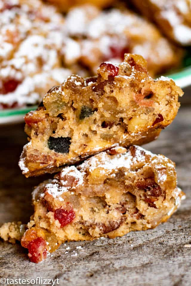 easy christmas fruit cake cookies with one broken in half