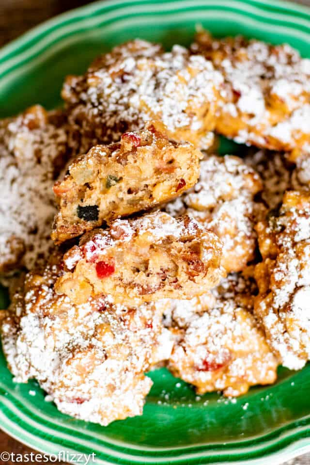fruit cake cookies with powdered sugar