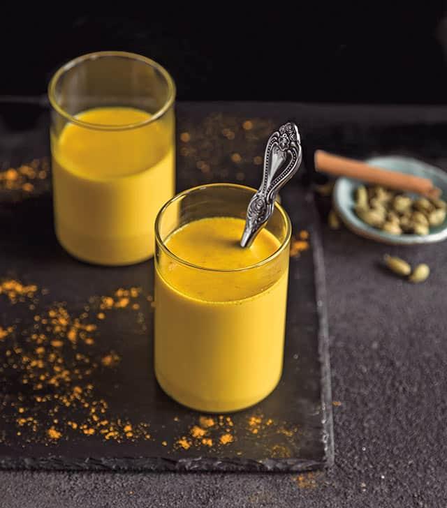 two glasses of golden milk