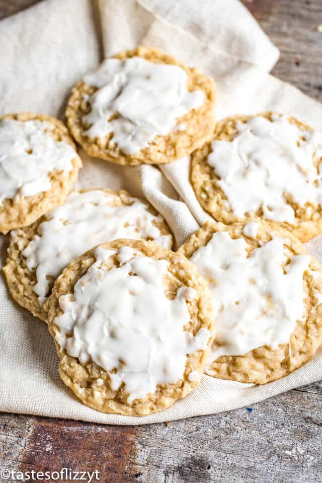 iced oatmeal cookies on a plate