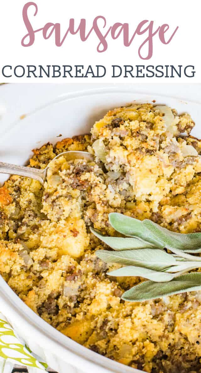 Use leftover cornbread to make a savory sausage cornbread stuffing that is idea as a side dish or as a main dish. You can also serve with sausage gravy for breakfast!
