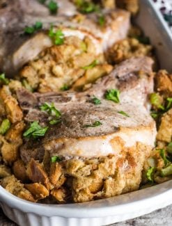 pork chops with bread stuffing
