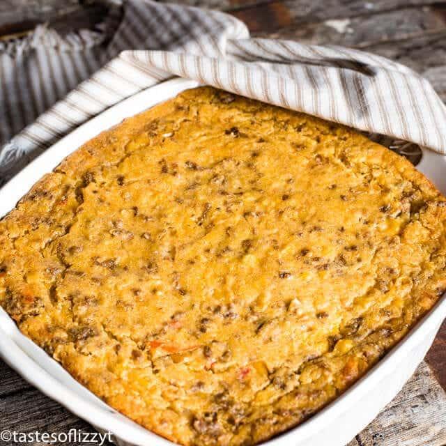 taco casserole in a pan