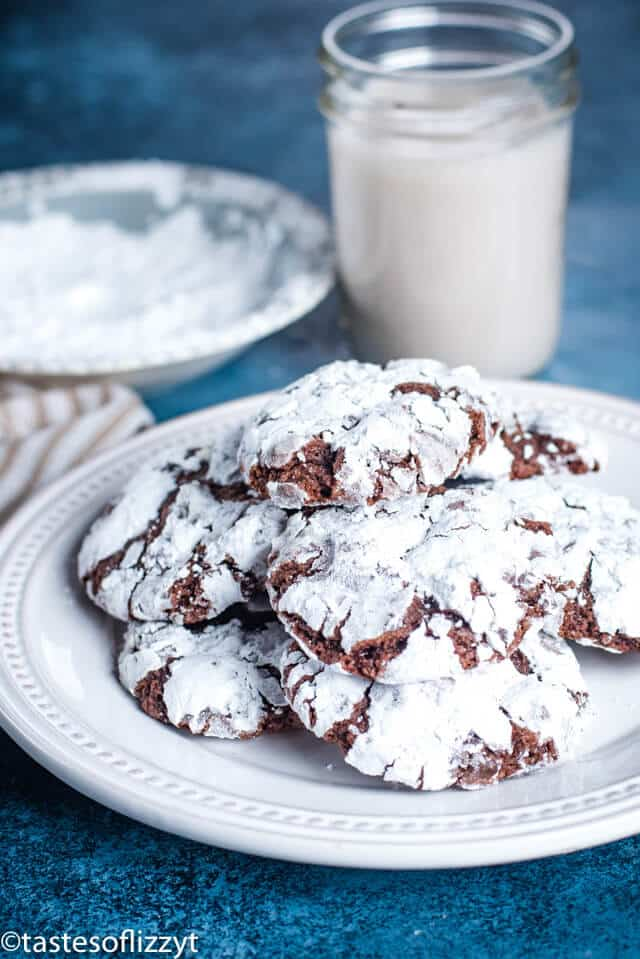 plate of chocolate Christmas cookies