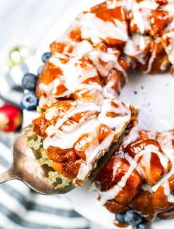 spiced eggnog monkey bread with glaze