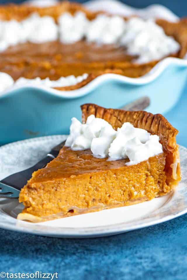 piece of eggnog pumpkin pie on a plate