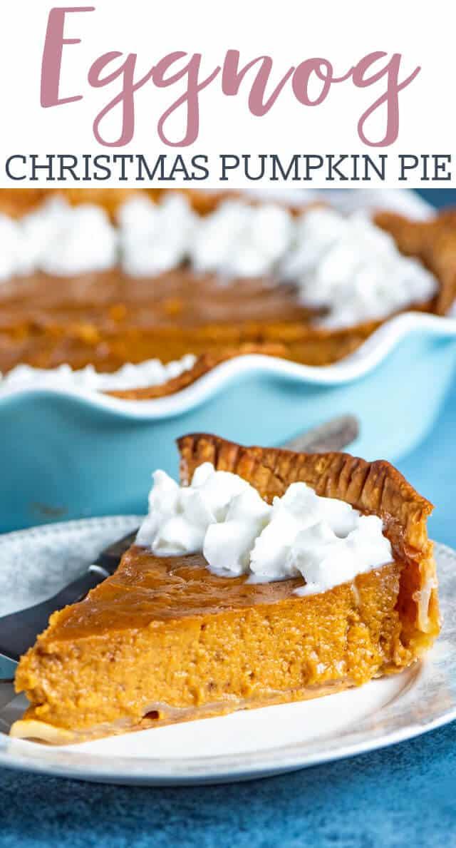 eggnog pumpkin pie on a plate
