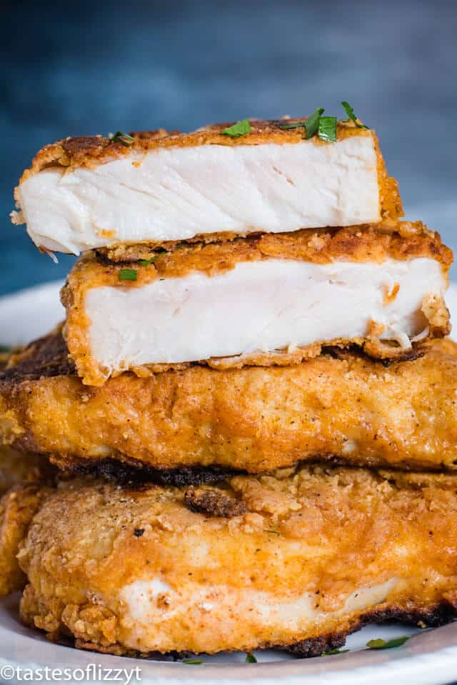 stack of fried pork chops with one cut in half