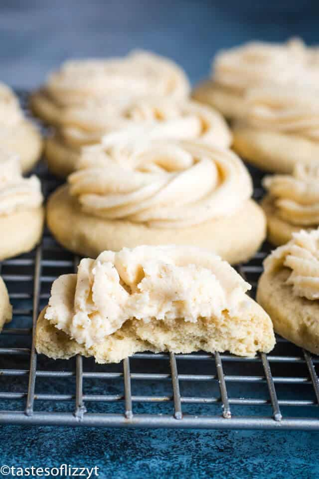 soft frosted sugar cookies spiked with eggnog
