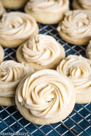 frosted eggnog cookies topped with eggnog frosting