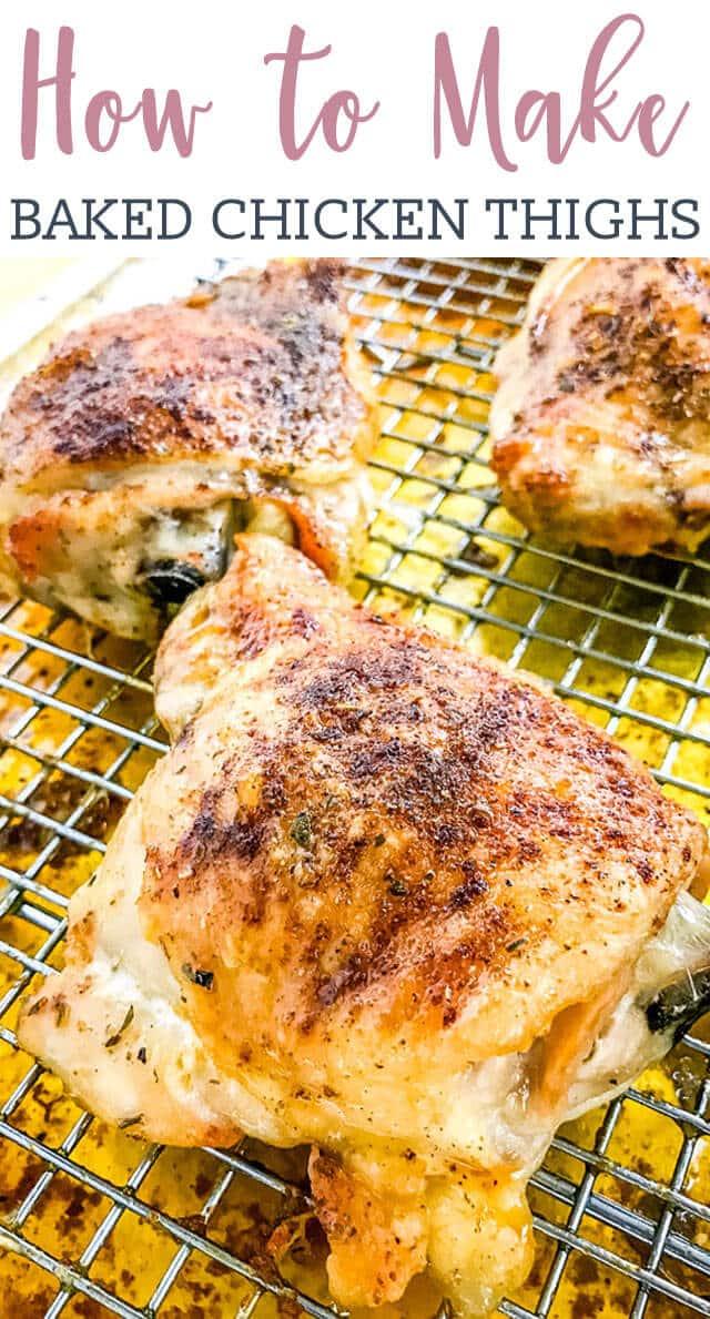 golden brown chicken thighs on a wire rack