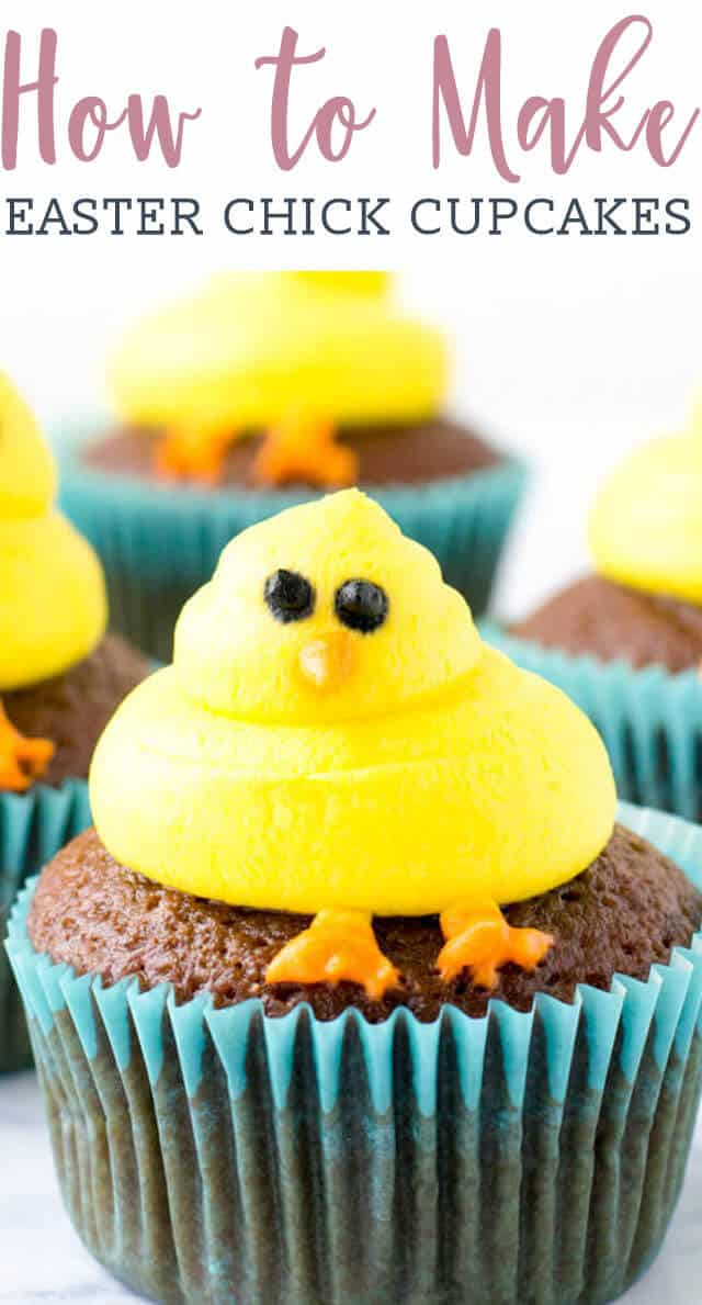 cupcakes made to look like an easter chick