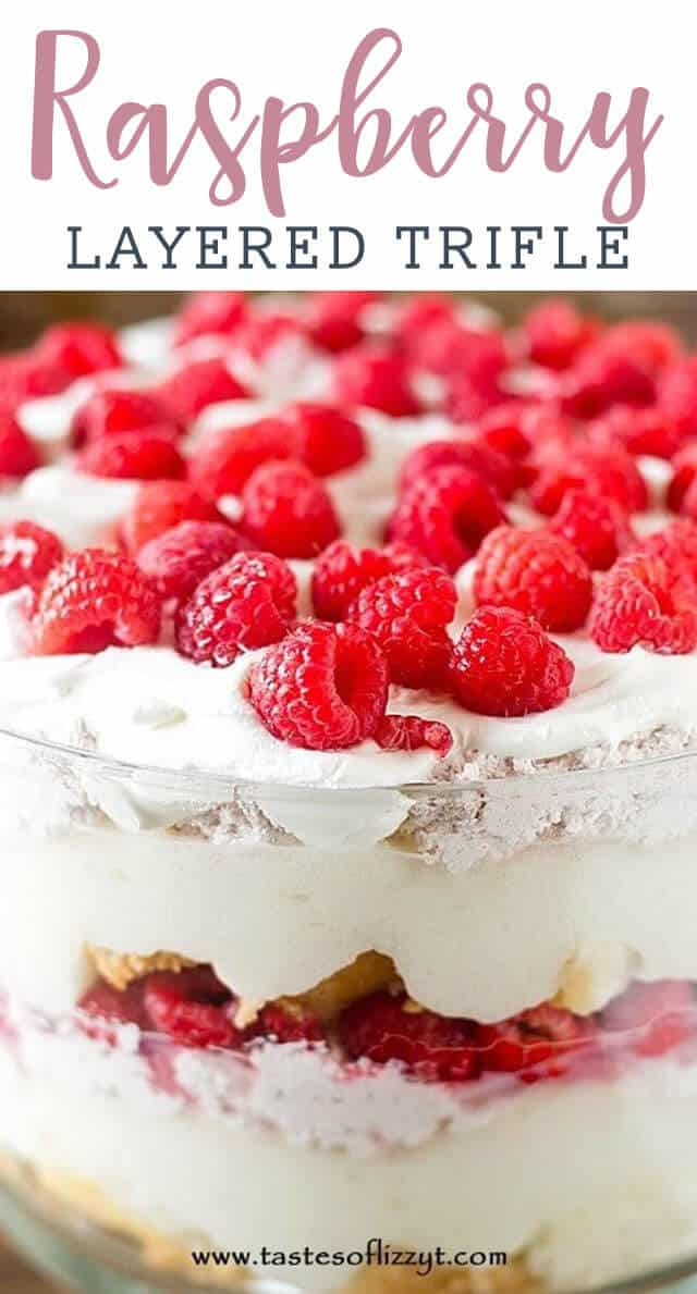 A close up of a raspberry trifle