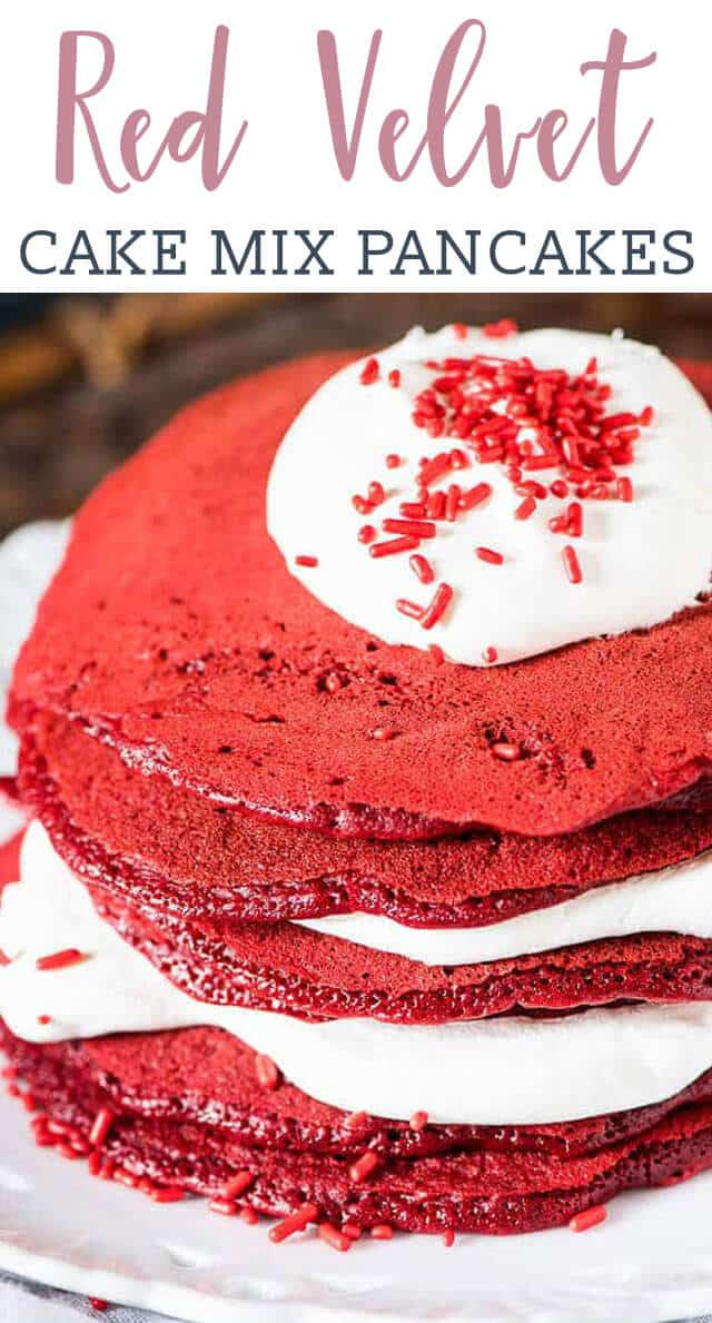 stack of red velvet pancakes with red sprinkles