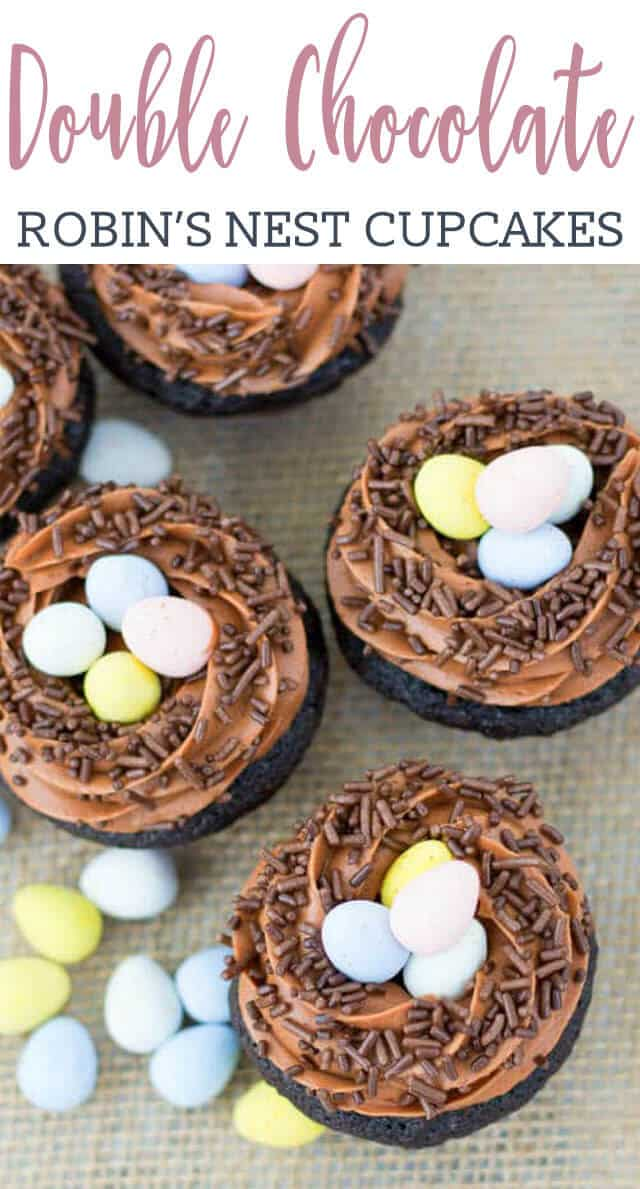 These Robin's Nest Cupcakes are made with moist, rich chocolate cupcakes, topped with a fluffy chocolate frosting, brown jimmies and chocolate robins' eggs. These Robin's Nest Cupcakes are an easy, festive spring and Easter treat!