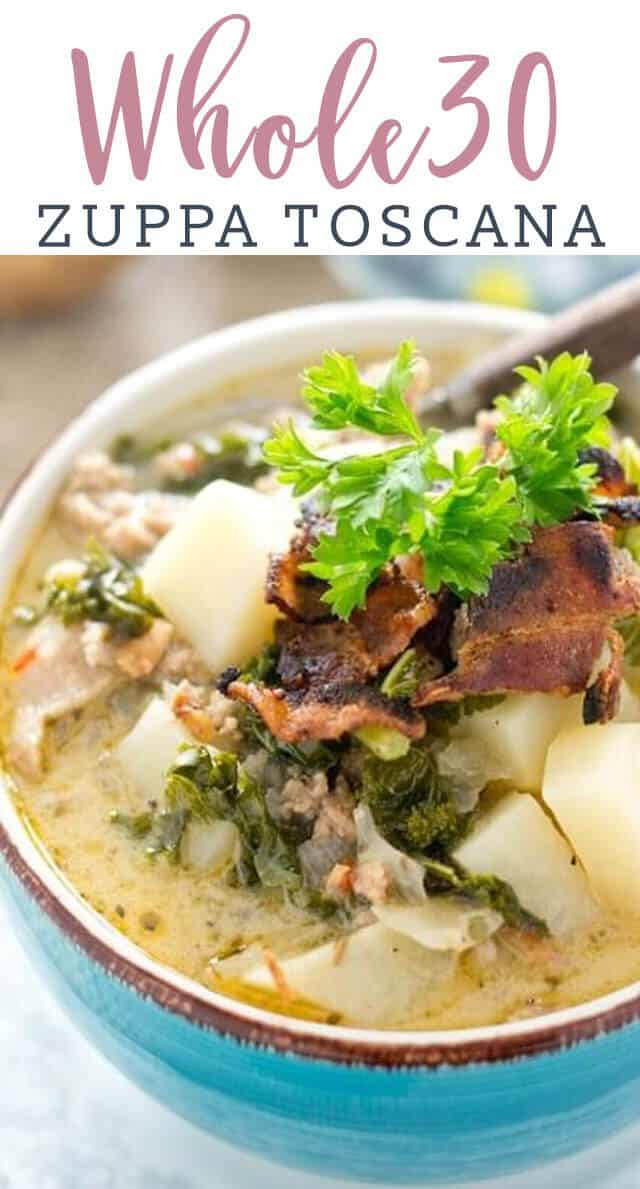 A bowl of zuppa toscana