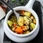White bowl of Chicken Sweet Potato Soup