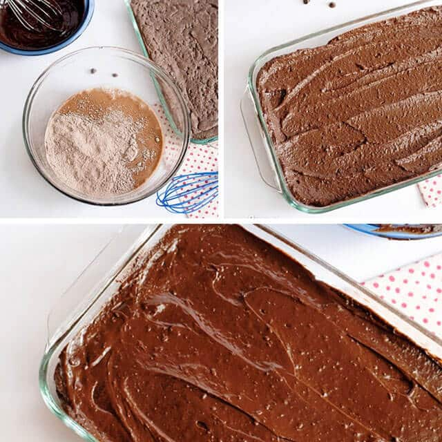 photo collage showing how to make chocolate pudding cake mix brownies