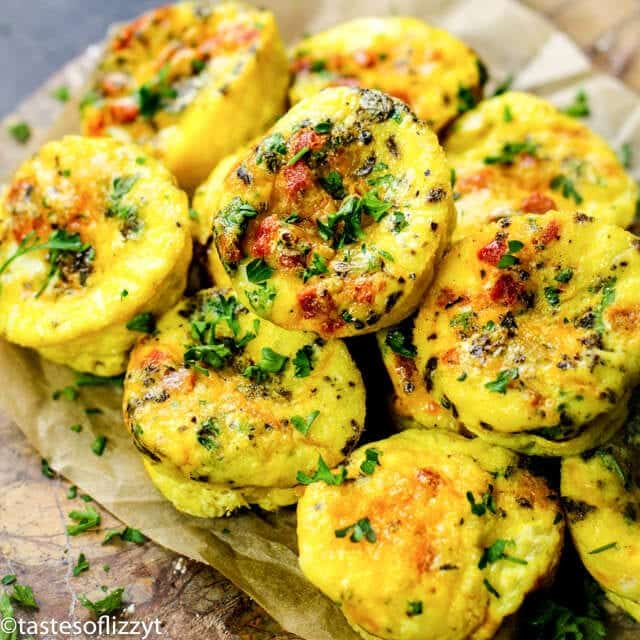 chorizo egg muffins in a pile