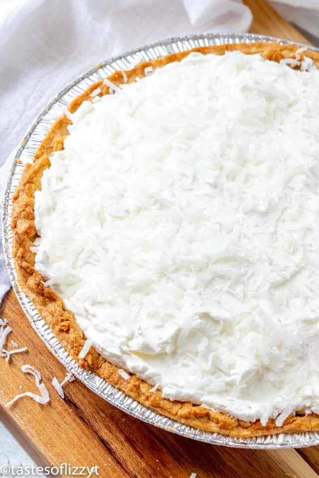 overhead view of coconut cream pie