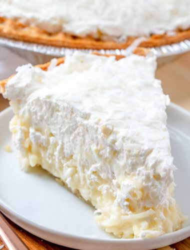 old fashioned coconut cream pie on a plate