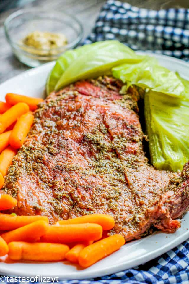 corned beef, cabbage and carrots on a plate