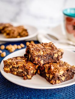 plate of espresso brownies with peanut butter chips