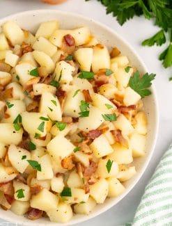 closeup of german potato salad
