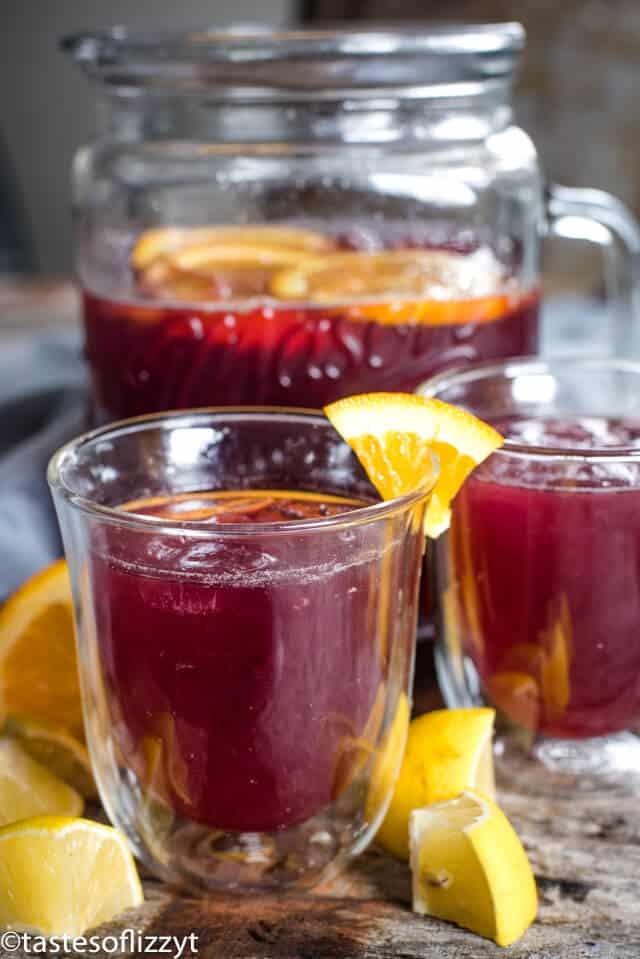 grape juice lemonade in glasses