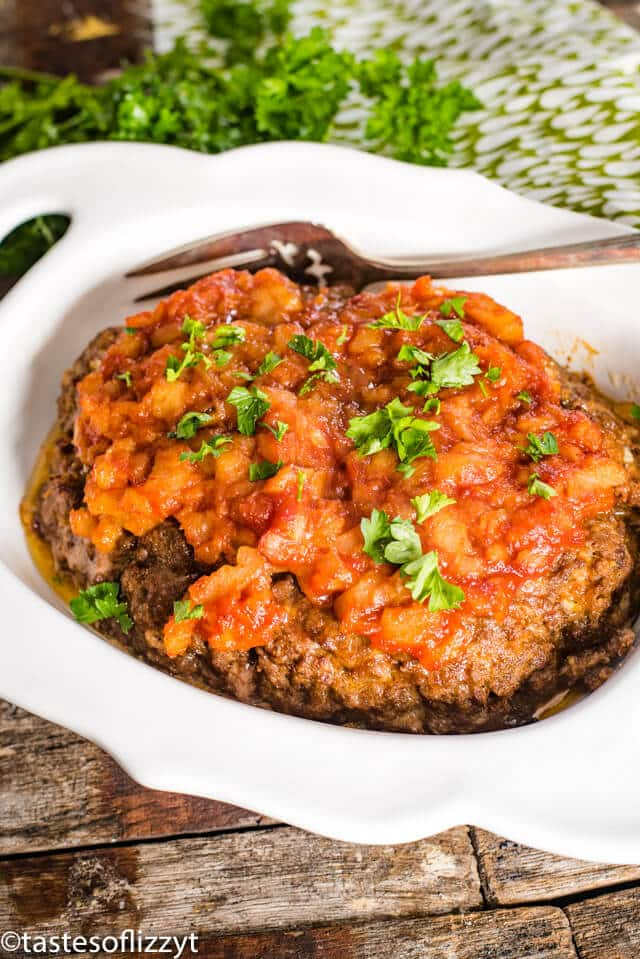 hawaiian meatloaf in a serving dish