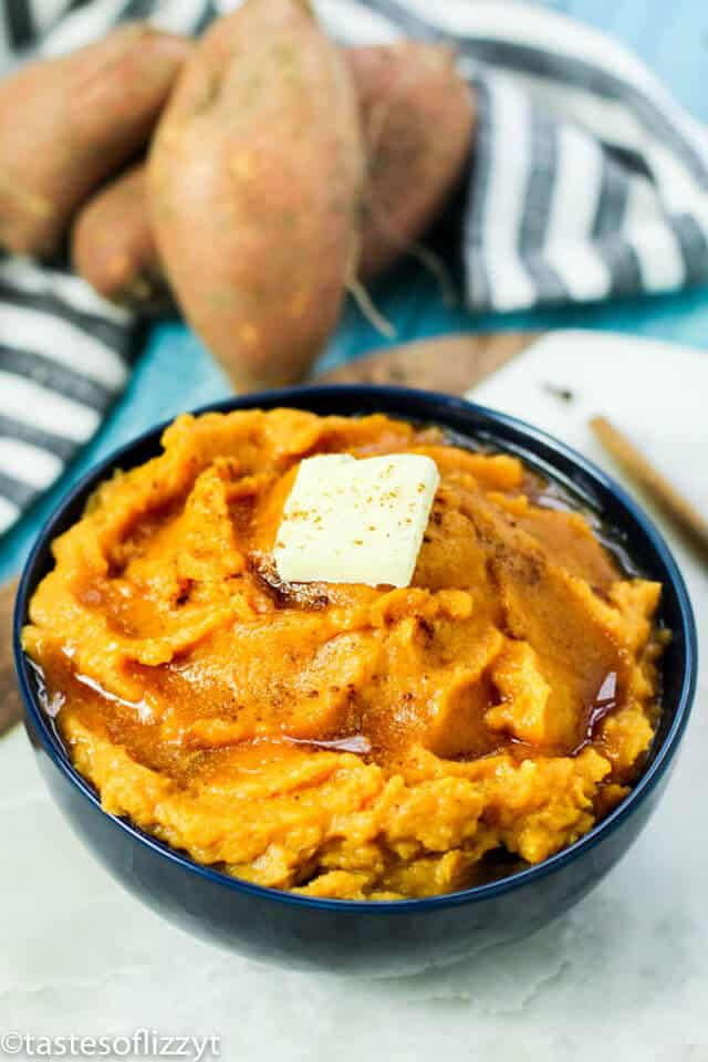 bowl of mashed sweet potatoes with butter