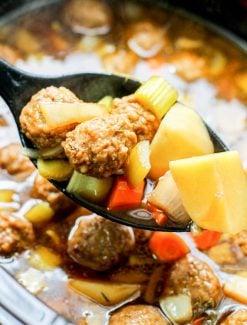 spoon full of meatball soup
