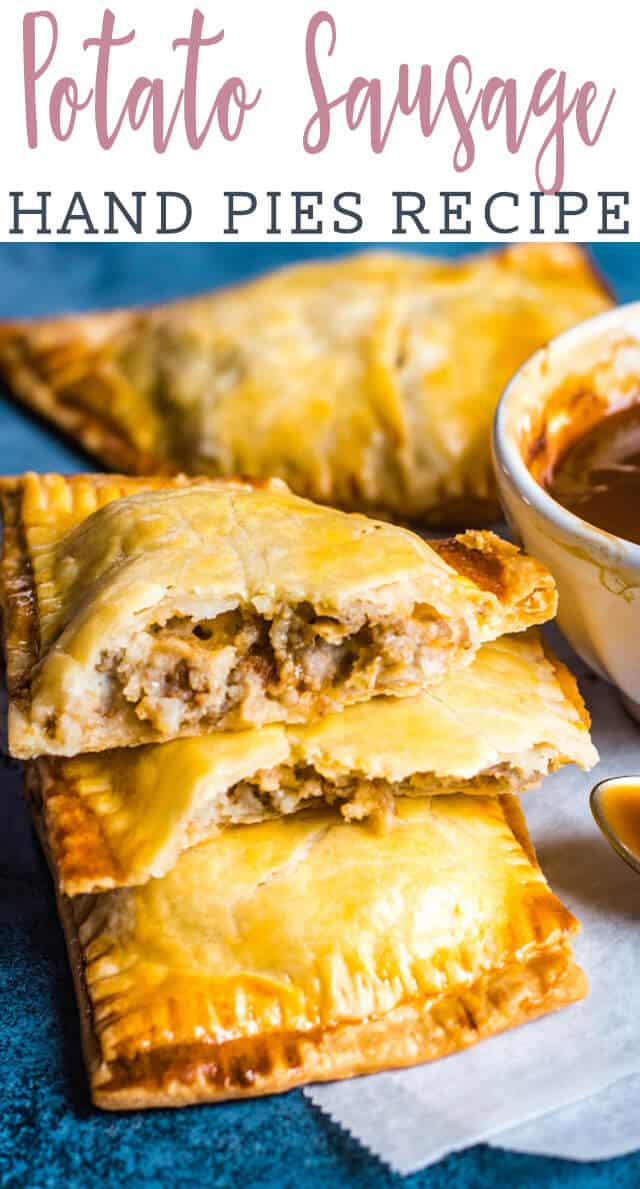 Your family will love these savory hand pies! Mashed potatoes, sausage and cheese is baked inside flaky pie crust for the ultimate handheld dinner. via @tastesoflizzyt