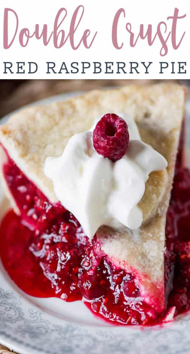 slice of red raspberry pie
