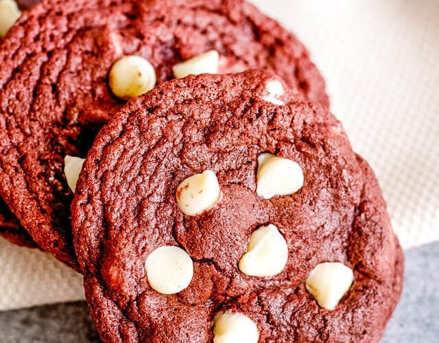 red velvet cookies with white chocolate chips