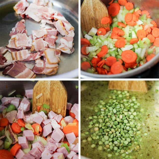 collage of bacon and veggies