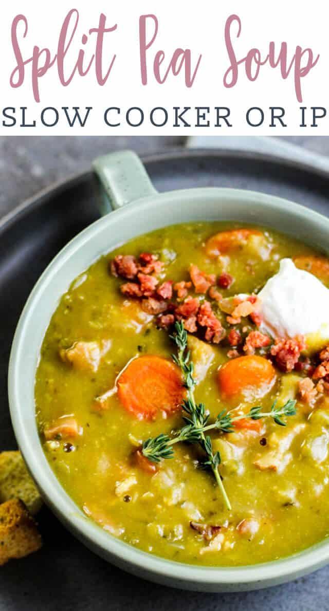 A bowl of split pea soup