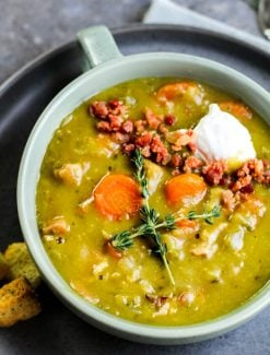 bowl of split pea soup made in the instant pot