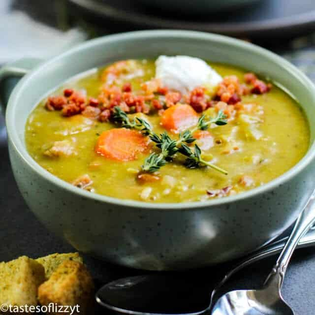 split pea soup with bacon and carrots