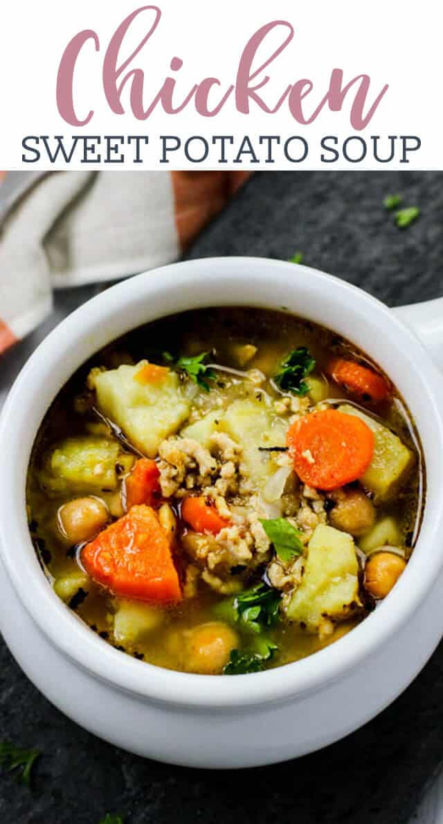 a bowl of chicken potato soup