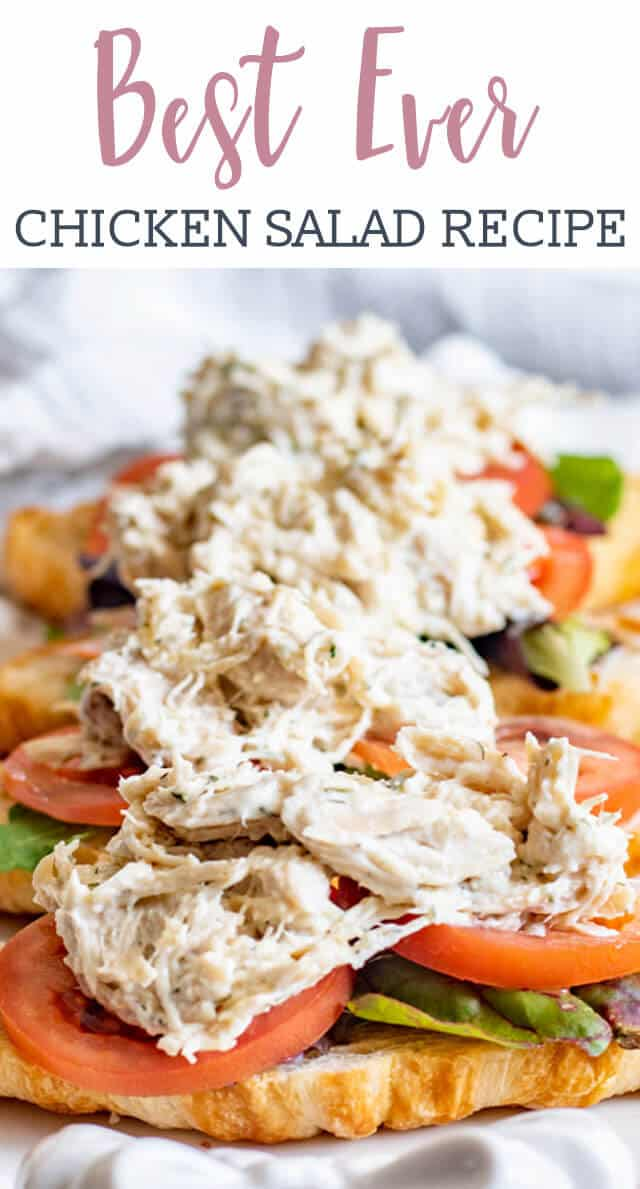 Use leftover shredded chicken in this easy chicken salad recipe flavored with parmesan cheese, dill weed, parsley, onion and garlic. via @tastesoflizzyt