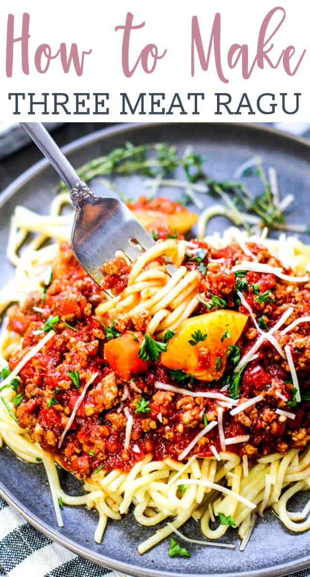 This ragu sauce has a combination of beef, pork, and veal, producing a rich and hearty Italian sauce. Perfect with pasta, as well as in baked Italian dishes. The best part of all is that this is an Instant Pot recipe! You'll never have to stand over the stove for hours watching over your sauce. In about 45 minutes, you can be enjoying this Italian comfort food! #ragu #comfortfood #pastasauce #meatsauce via @tastesoflizzyt