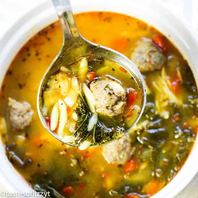Albondigas Soup in a ladle