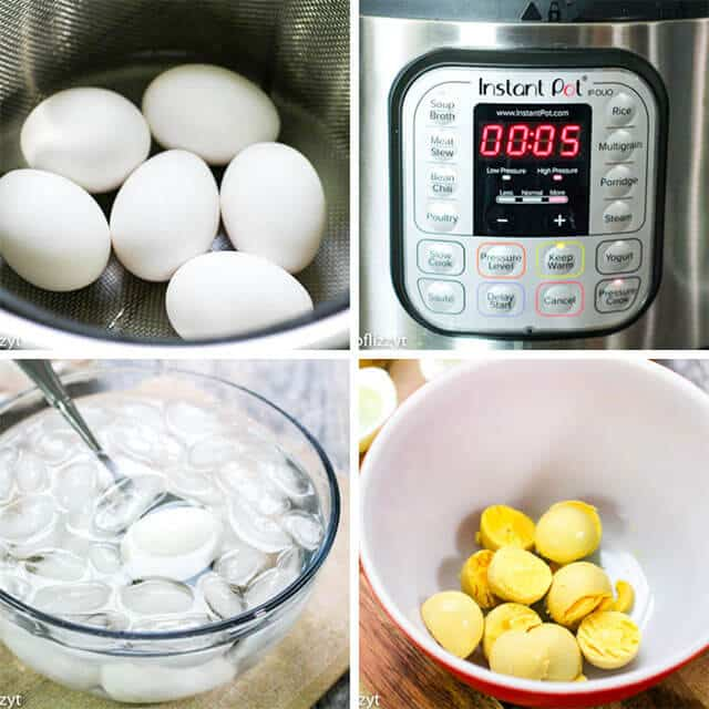 cooking eggs in instant pot collage