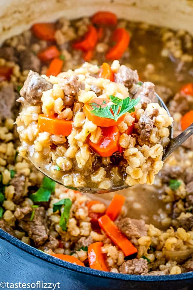 ladle with beef barley soup